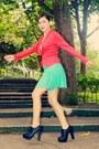 Black-primadonna-boots-hot-pink-apartment-blazer-aquamarine-forever-21-skirt