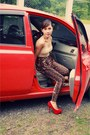 Nude-dickies-top-dark-brown-forever21-pants-ruby-red-syrup-heels