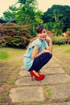 red Syrup heels - navy anchor vintage leggings - sky blue vintage top