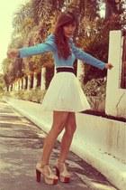 white H&M skirt - sky blue H&M top - eggshell Jeffrey Campbell sandals