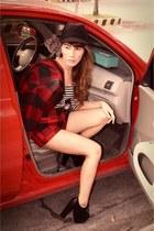 white H&M top - black Primadonna boots - black Kangol hat