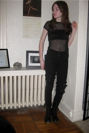 black Dr Martens boots - black Cheap Monday jeans - black Express bra - black me