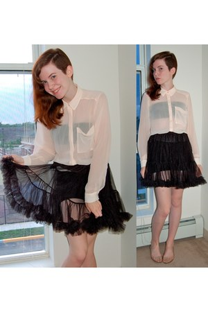 black American Apparel shorts - eggshell H&M blouse - black skirt - black Expres