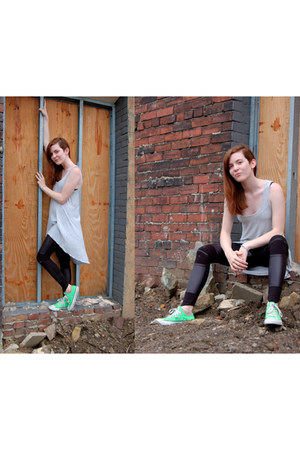 heather gray dress - black leggings - chartreuse Converse sneakers