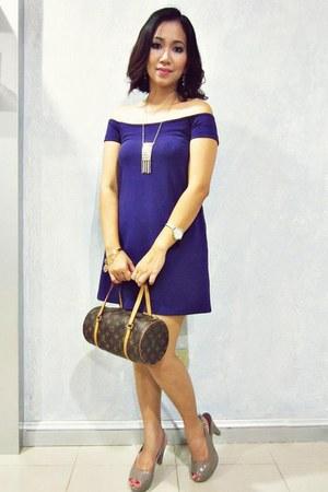 off shoulder DKNY dress - Louis Vuitton bag - Forever 21 accessories