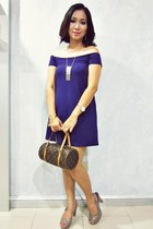 off shoulder DKNY dress - Louis Vuitton bag - Forever 21 accessories