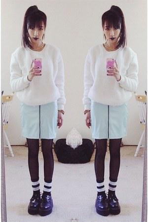 white Forever 21 sweater - dark gray sheer Forever 21 tights