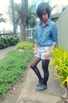 denim shorts - SO Fab boots - black Topshop tights - blue denim Forever 21 top