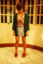 sky blue floral shorts - red Keds shoes - gray floral top