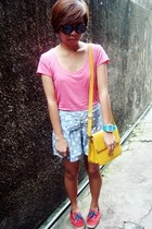 red Keds shoes - pink bench shirt - yellow bag - sky blue bought online shorts -