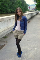 blue Zara shoes - blue jacket - beige Zara shorts - black H&M tights - pink top