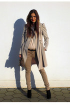 neutral Mango shirt - off white coat - tan Zara pants - black new look wedges