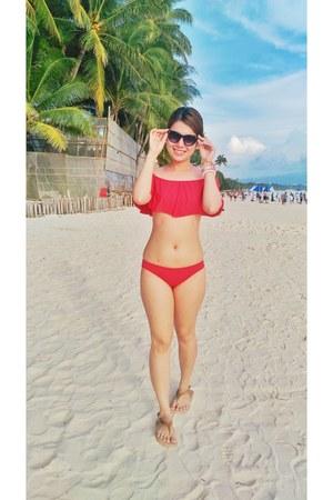 red off shoulder bought online swimwear