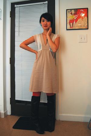 rendezvous & pauljoe sister collab dress - H&M tights - Via Spiga boots