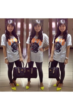 white baseball Primadonna shirt - yellow neon Primadonna shoes