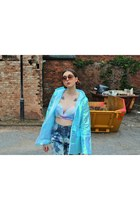 iridescent Pretty Little Thing coat - vintage COW vintage jeans