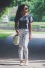 Gray-american-apparel-t-shirt-white-floral-print-h-m-pants