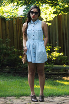 sky blue thrifted dress - dark brown American Eagle loafers