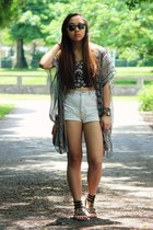 gray vintage Ray Ban sunglasses - ivory high waisted Forever 21 shorts