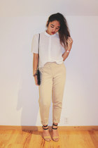 white H&M shirt - neutral trousers H&M pants - nude Forever 21 heels