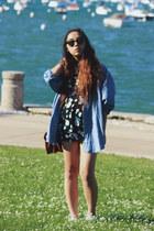sky blue DKNY shirt - black floral Forever 21 dress