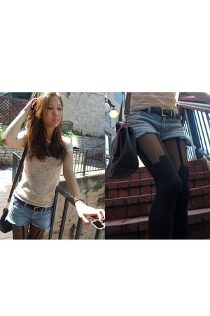 blue Joes Jeans shorts - black Henry Holland stockings - beige thrifted top - co
