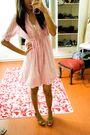 Pink-zara-dress-beige-shoes