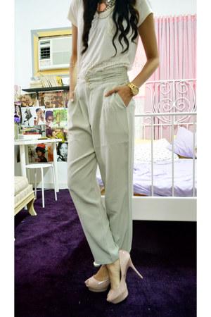 light pink Zara heels - beige New Yorker shirt - aquamarine thrifted pants