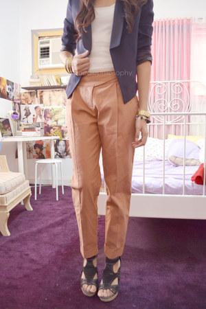 black Gibi heels - navy nexus blazer - tawny Topshop pants