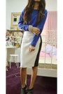 Blue-redtag-sweater-white-black-and-white-zara-skirt