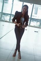 blazer - belt - heels