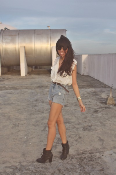 f21 boots - DIY shorts - Coton On top