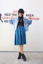 vintage skirt - Guess jacket - H&M sunglasses - Dorothy Perkins belt