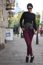 black top - black boots - crimson jeans