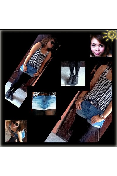 black SM stockings - brown DrMArtins shoes - denim Topshop shorts