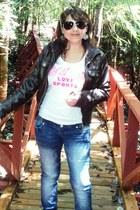 skinny jeans wasos jeans - cuero Wados jacket - MNG sunglasses - algodon Everlas