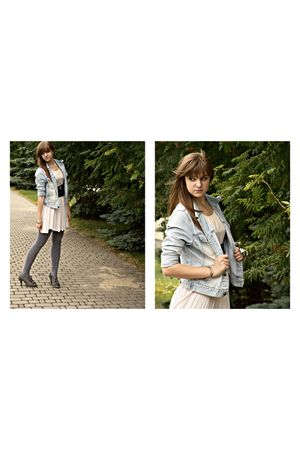 blue Secondhand jacket - gray tights - beige Secondhand dress - gray boots