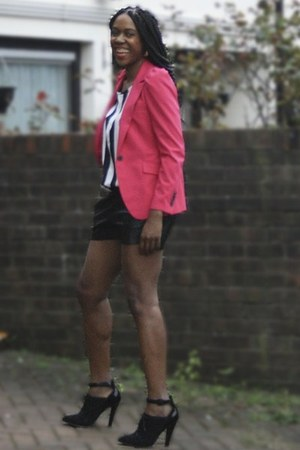 leather Topshop shoes - hot pink Zara blazer - faux leather H&M shorts