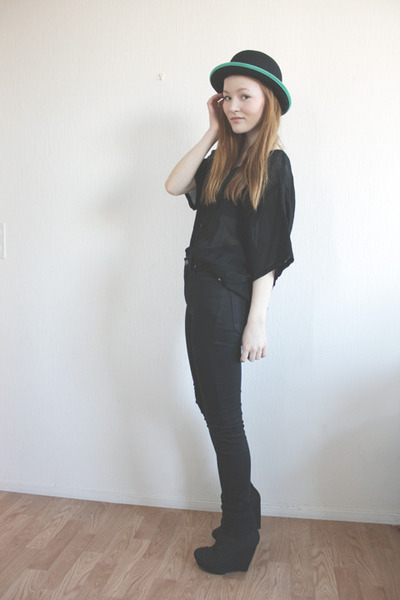black high waisted Nudie jeans - black canvas asos wedges