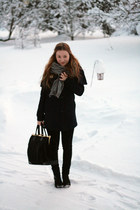 bag - H&M coat - high-waisted Nudie Jeans jeans - wool scarf