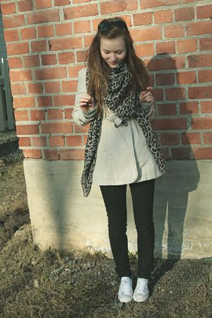 beige coat - brown scarf - black Miss Sixty jeans - white shoes - black sunglass
