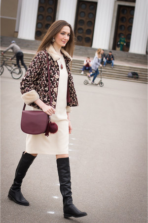 ivory idaLaida dress - dark brown idaLaida jacket - crimson Mango bag
