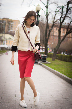 white idaLaida jacket - crimson Mango bag - ruby red idaLaida skirt
