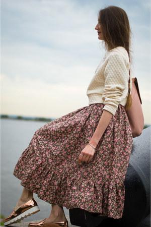 light pink idaLaida skirt - white asos jumper