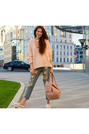 blue Mango jeans - peach asos jacket