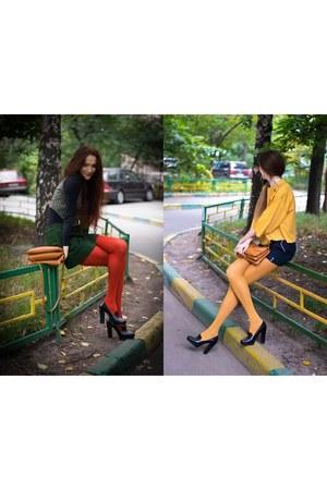 black Ekonika shoes - mustard idaLaida jacket - ruby red Calzedonia tights