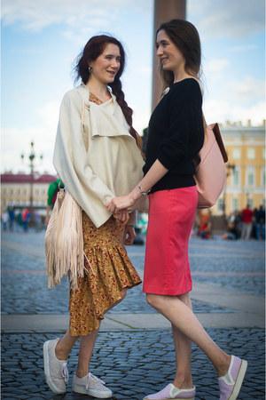 tawny idaLaida dress - cream idaLaida jacket - hot pink idaLaida skirt