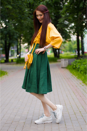 gold idaLaida jacket - yellow Mango bag - dark green idaLaida skirt