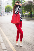 red Mango jeans - red Alba bag - white Mango jumper