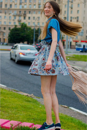 peach H&M bag - silver idaLaida skirt - blue Mango t-shirt